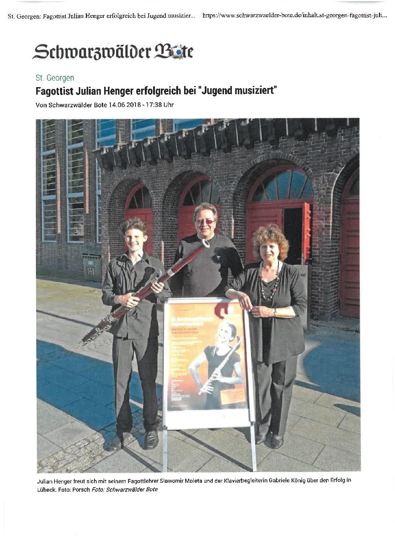 """Fagottist Julian Henger erfolgreich bei """"Jugend musiziert"""""""